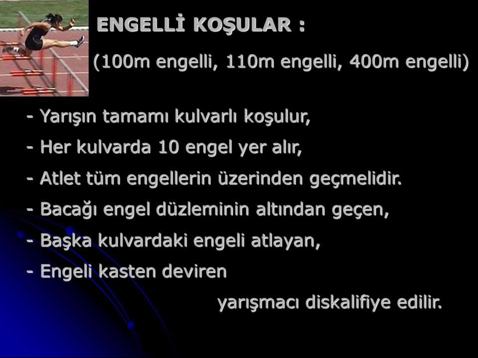 ENGELLİ KOŞULAR : ENGELLİ KOŞULAR : (100m engelli, 110m engelli, 400m engelli) (100m engelli, 110m engelli, 400m engelli) - Yarışın tamamı kulvarlı ko
