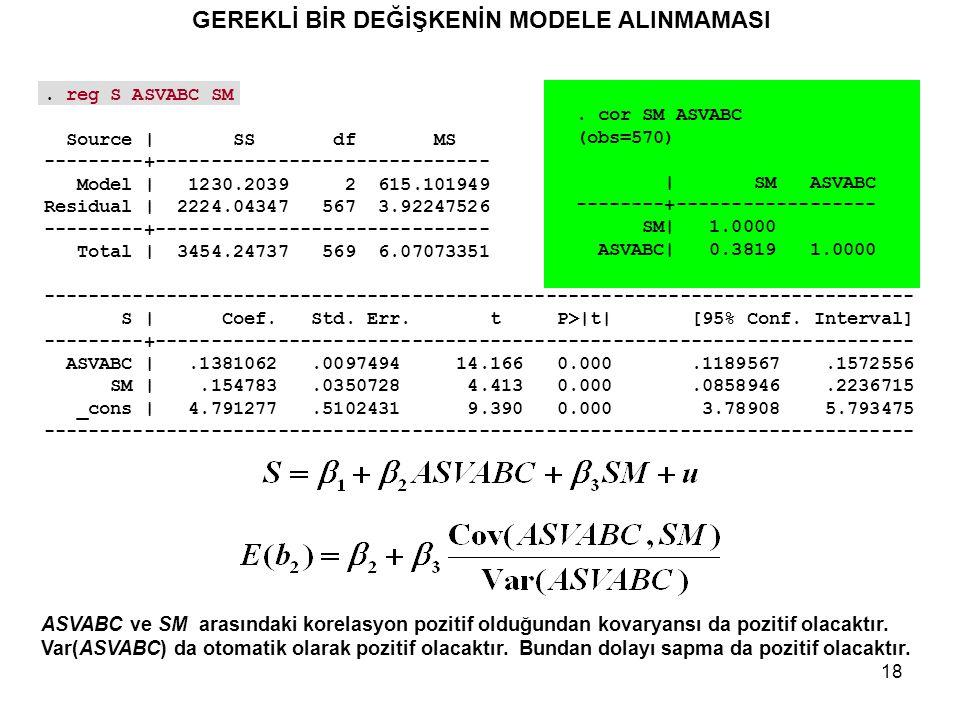 18 ASVABC ve SM arasındaki korelasyon pozitif olduğundan kovaryansı da pozitif olacaktır.