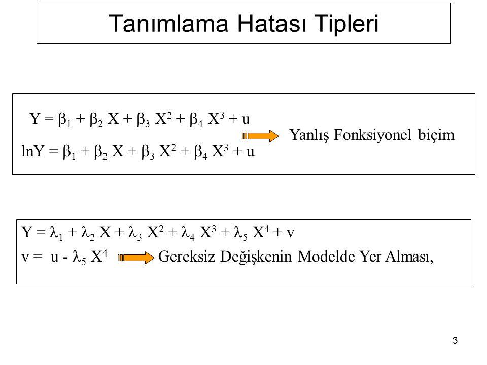 4 Tanımlama Hatası Tipleri Y i * =  1 * +  2 * X i * +  3 * X i *2 +  4 * X i *3 + u i * Y i * = Y i +  i X i * = X i + w i Ölçme Hatası Sapması Y =  1 +  2 X +  3 X 2 +  4 X 3 + u Y =   +  2 X +  3 X 2 + v v =  4 X 3 + u Gerekli Değişkenin Gözardı Edilmesi,