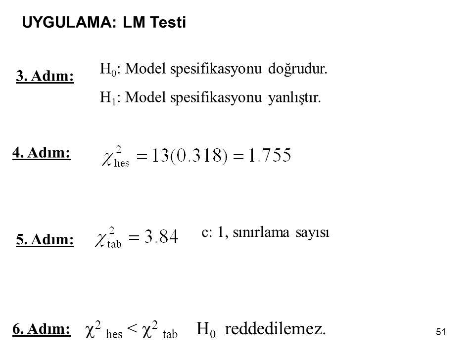 51 4.Adım: 6. Adım:  2 hes <  2 tab H 0 reddedilemez.