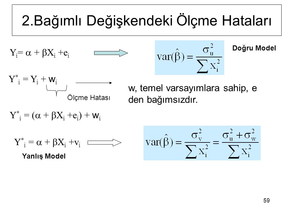 59 Y i =  +  X i +e i Y * i = Y i + w i Y * i = (  +  X i +e i ) + w i Y * i =  +  X i +v i 2.Bağımlı Değişkendeki Ölçme Hataları Doğru Model Yanlış Model Ölçme Hatası w, temel varsayımlara sahip, e den bağımsızdır.