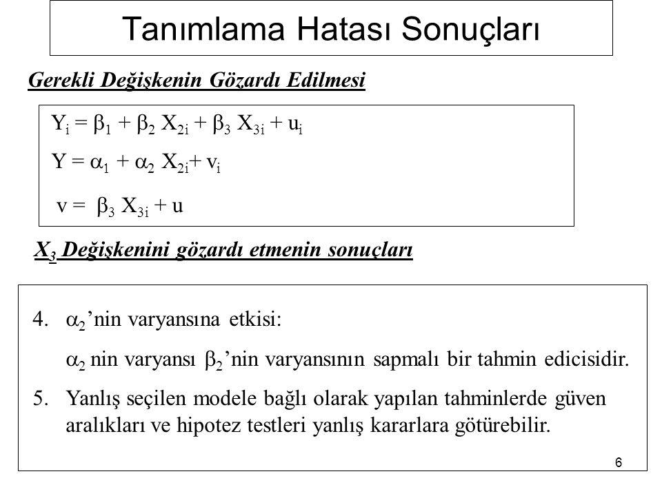 37 Lagrange Multiplier (LM) testi 1. Adım: 2. Adım: