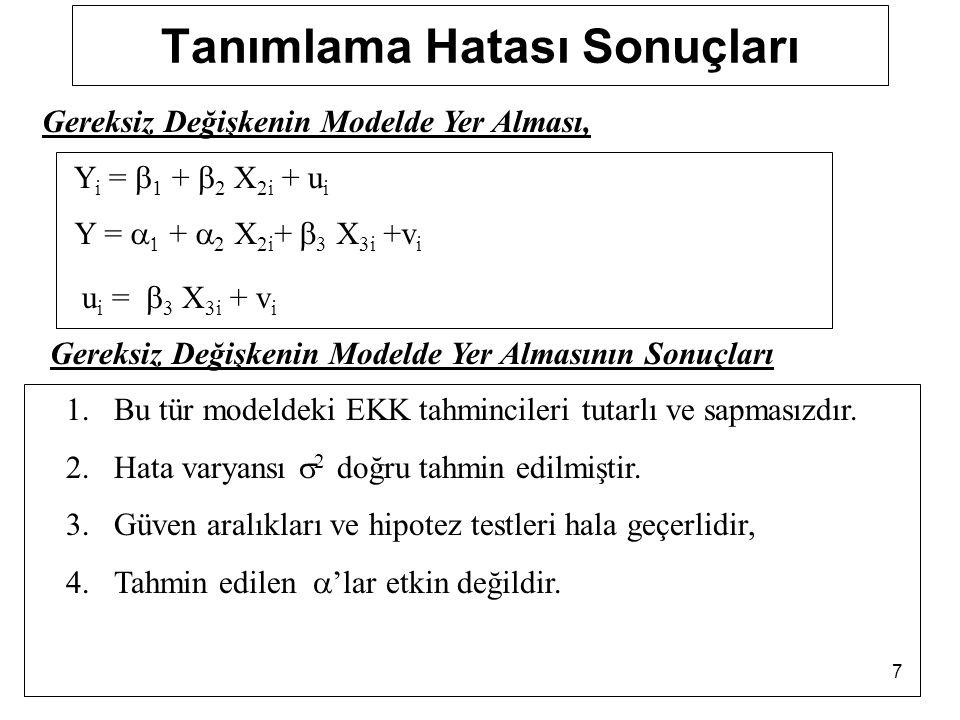 38 Lagrange Multiplier (LM) testi 4.Adım: 6. Adım:  2 hes >  2 tab H 0 reddedilebilir.