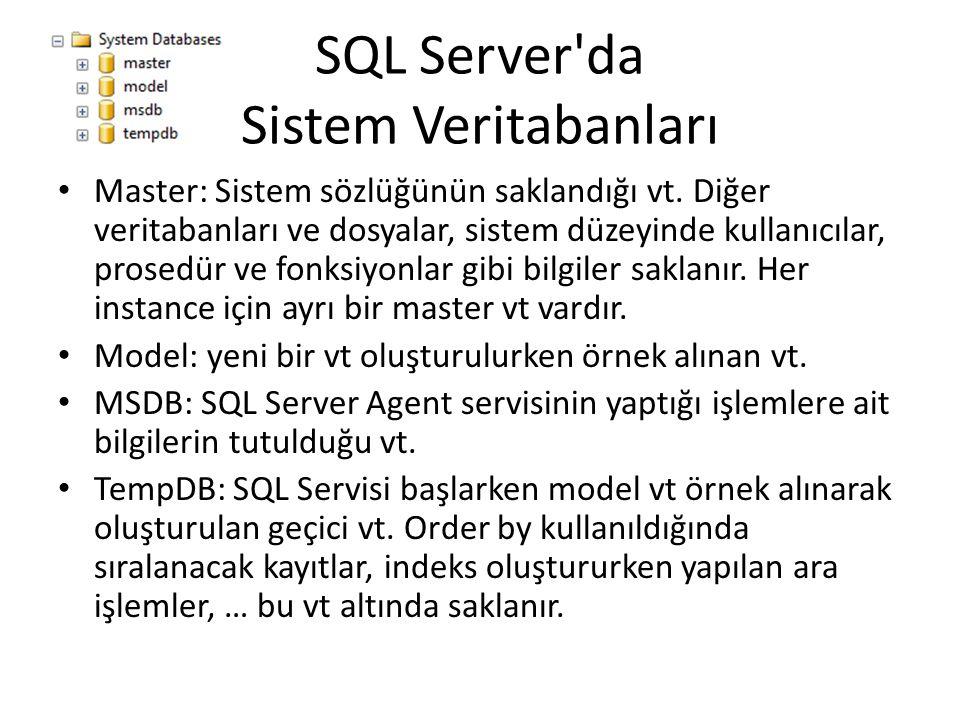 SQL Server'da Sistem Veritabanları Master: Sistem sözlüğünün saklandığı vt. Diğer veritabanları ve dosyalar, sistem düzeyinde kullanıcılar, prosedür v