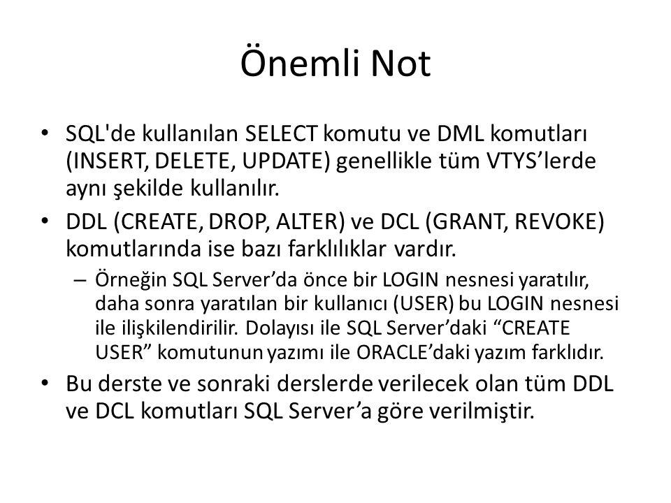 Önemli Not SQL'de kullanılan SELECT komutu ve DML komutları (INSERT, DELETE, UPDATE) genellikle tüm VTYS'lerde aynı şekilde kullanılır. DDL (CREATE, D