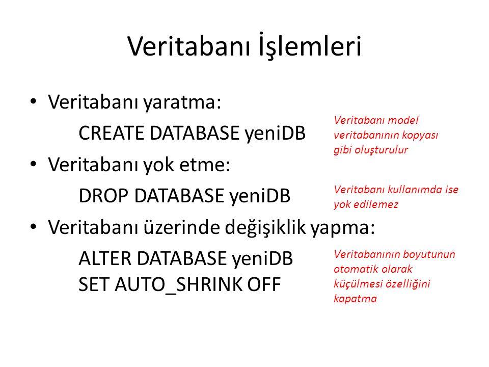 Veritabanı İşlemleri Veritabanı yaratma: CREATE DATABASE yeniDB Veritabanı yok etme: DROP DATABASE yeniDB Veritabanı üzerinde değişiklik yapma: ALTER