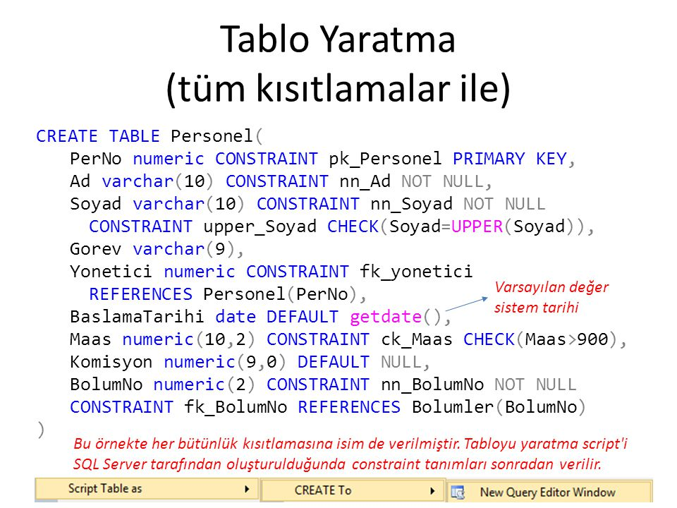 CREATE TABLE Personel( PerNo numeric CONSTRAINT pk_Personel PRIMARY KEY, Ad varchar(10) CONSTRAINT nn_Ad NOT NULL, Soyad varchar(10) CONSTRAINT nn_Soy