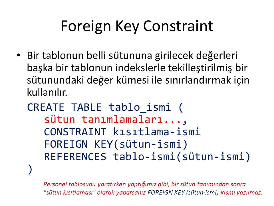 Foreign Key Constraint Bir tablonun belli sütununa girilecek değerleri başka bir tablonun indekslerle tekilleştirilmiş bir sütunundaki değer kümesi il