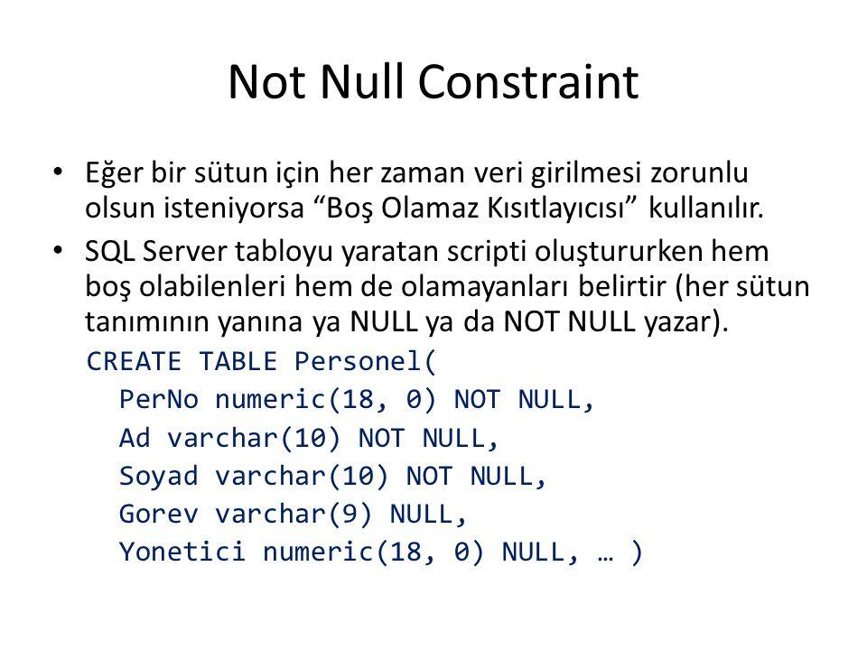 """Not Null Constraint Eğer bir sütun için her zaman veri girilmesi zorunlu olsun isteniyorsa """"Boş Olamaz Kısıtlayıcısı"""" kullanılır. SQL Server tabloyu y"""