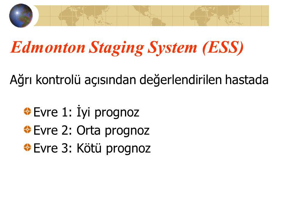 Edmonton Staging System (ESS) Evre 1: İyi prognoz Evre 2: Orta prognoz Evre 3: Kötü prognoz Ağrı kontrolü açısından değerlendirilen hastada