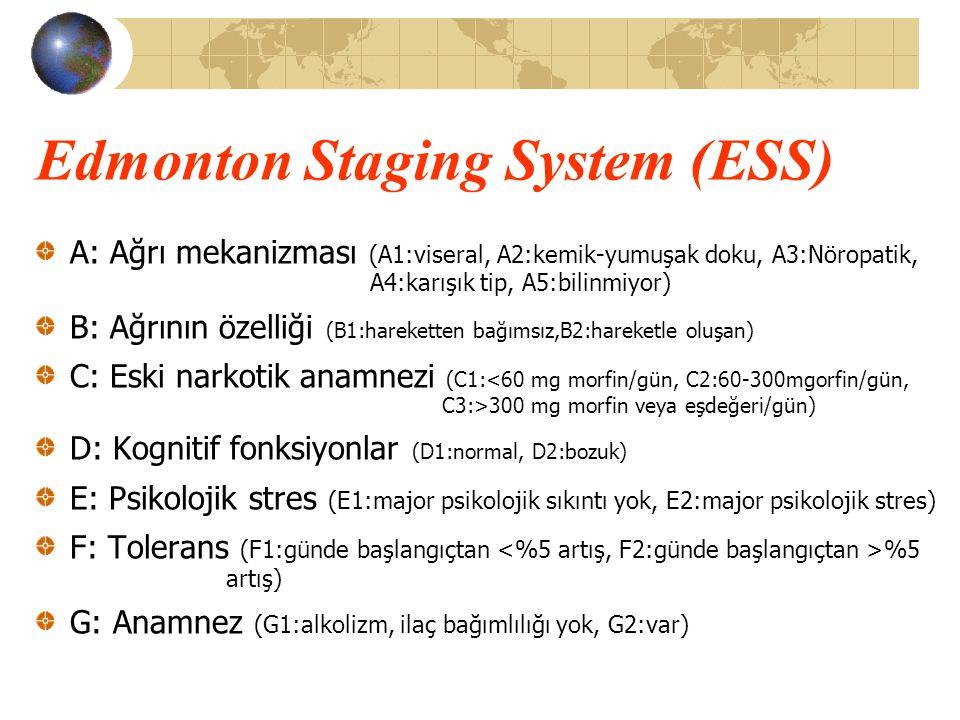 Edmonton Staging System (ESS) A: Ağrı mekanizması (A1:viseral, A2:kemik-yumuşak doku, A3:Nöropatik, A4:karışık tip, A5:bilinmiyor) B: Ağrının özelliği