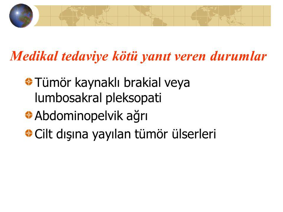 Medikal tedaviye kötü yanıt veren durumlar Tümör kaynaklı brakial veya lumbosakral pleksopati Abdominopelvik ağrı Cilt dışına yayılan tümör ülserleri
