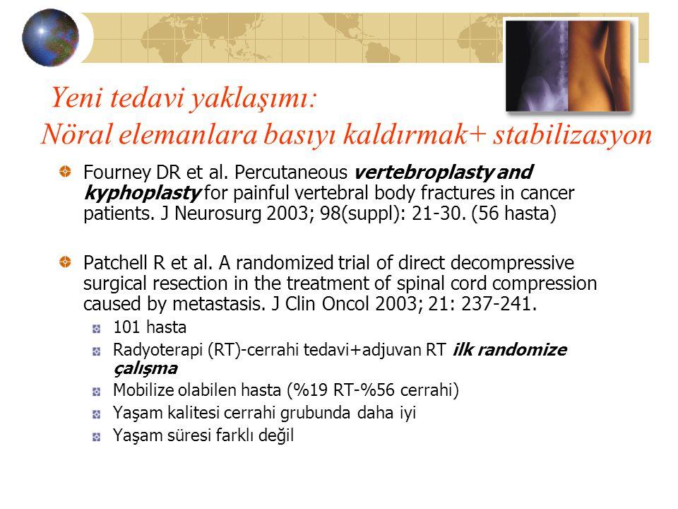 Yeni tedavi yaklaşımı: Nöral elemanlara basıyı kaldırmak+ stabilizasyon Fourney DR et al. Percutaneous vertebroplasty and kyphoplasty for painful vert