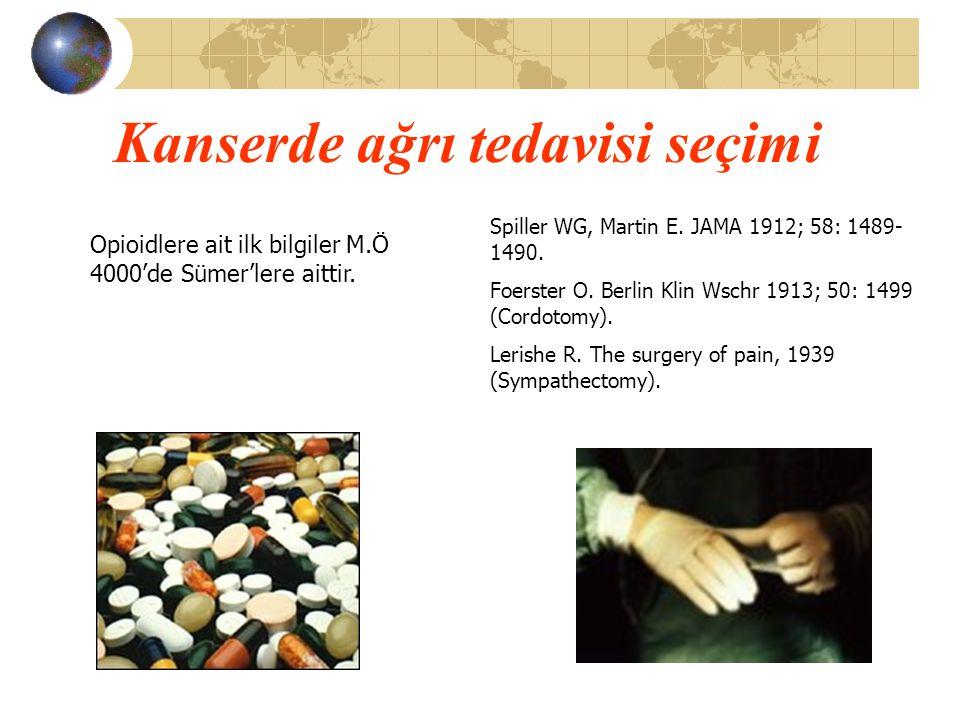 Kanserde ağrı tedavisi seçimi Spiller WG, Martin E. JAMA 1912; 58: 1489- 1490. Foerster O. Berlin Klin Wschr 1913; 50: 1499 (Cordotomy). Lerishe R. Th
