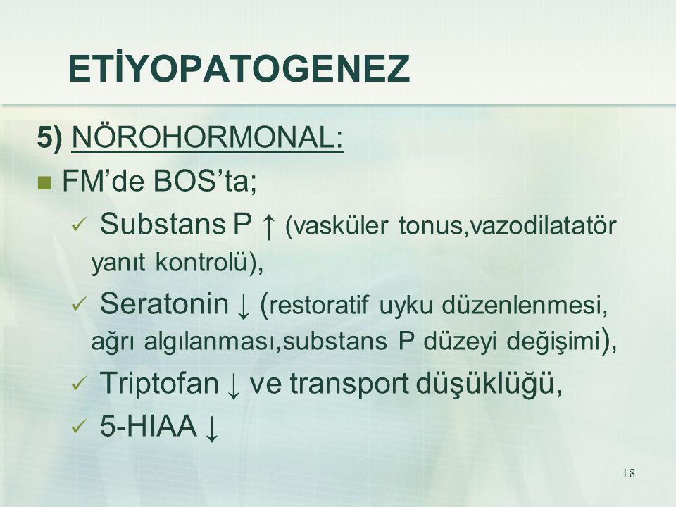 18 ETİYOPATOGENEZ 5) NÖROHORMONAL: FM'de BOS'ta; Substans P ↑ (vasküler tonus,vazodilatatör yanıt kontrolü), Seratonin ↓ ( restoratif uyku düzenlenmes