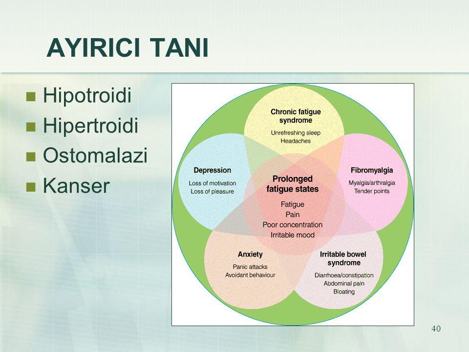 40 AYIRICI TANI Hipotroidi Hipertroidi Ostomalazi Kanser