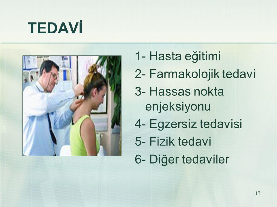 47 TEDAVİ 1- Hasta eğitimi 2- Farmakolojik tedavi 3- Hassas nokta enjeksiyonu 4- Egzersiz tedavisi 5- Fizik tedavi 6- Diğer tedaviler
