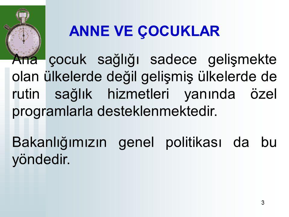 4 Türkiye'de Sağlık Bakanlığının anne ve çocuk sağlığı politikaları oldukça erken dönemde başlatılmıştır.
