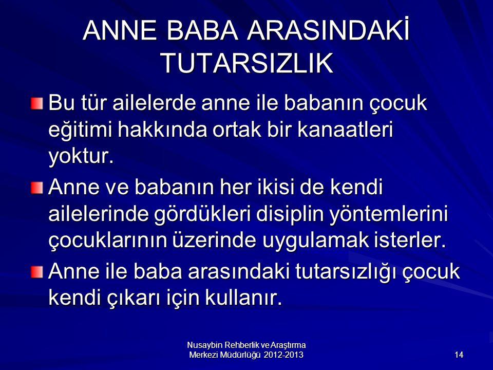 Nusaybin Rehberlik ve Araştırma Merkezi Müdürlüğü 2012-2013 14 ANNE BABA ARASINDAKİ TUTARSIZLIK Bu tür ailelerde anne ile babanın çocuk eğitimi hakkında ortak bir kanaatleri yoktur.