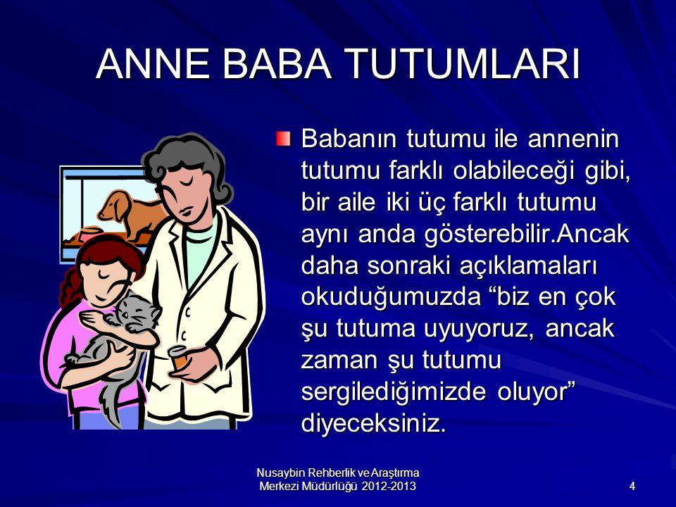 Nusaybin Rehberlik ve Araştırma Merkezi Müdürlüğü 2012-2013 4 ANNE BABA TUTUMLARI Babanın tutumu ile annenin tutumu farklı olabileceği gibi, bir aile