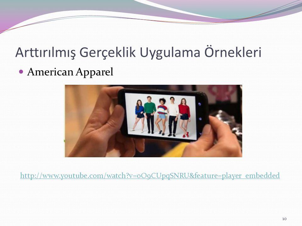 Arttırılmış Gerçeklik Uygulama Örnekleri American Apparel http://www.youtube.com/watch?v=0O9CUpqSNRU&feature=player_embedded 10