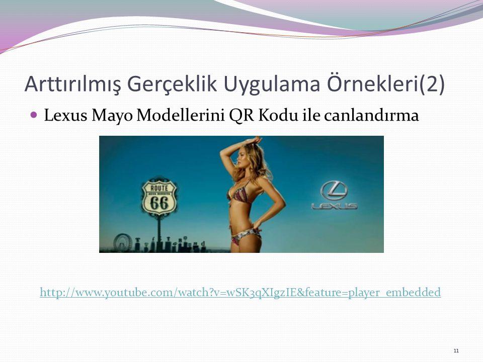 Arttırılmış Gerçeklik Uygulama Örnekleri(2) Lexus Mayo Modellerini QR Kodu ile canlandırma http://www.youtube.com/watch?v=wSK3qXIgzIE&feature=player_e