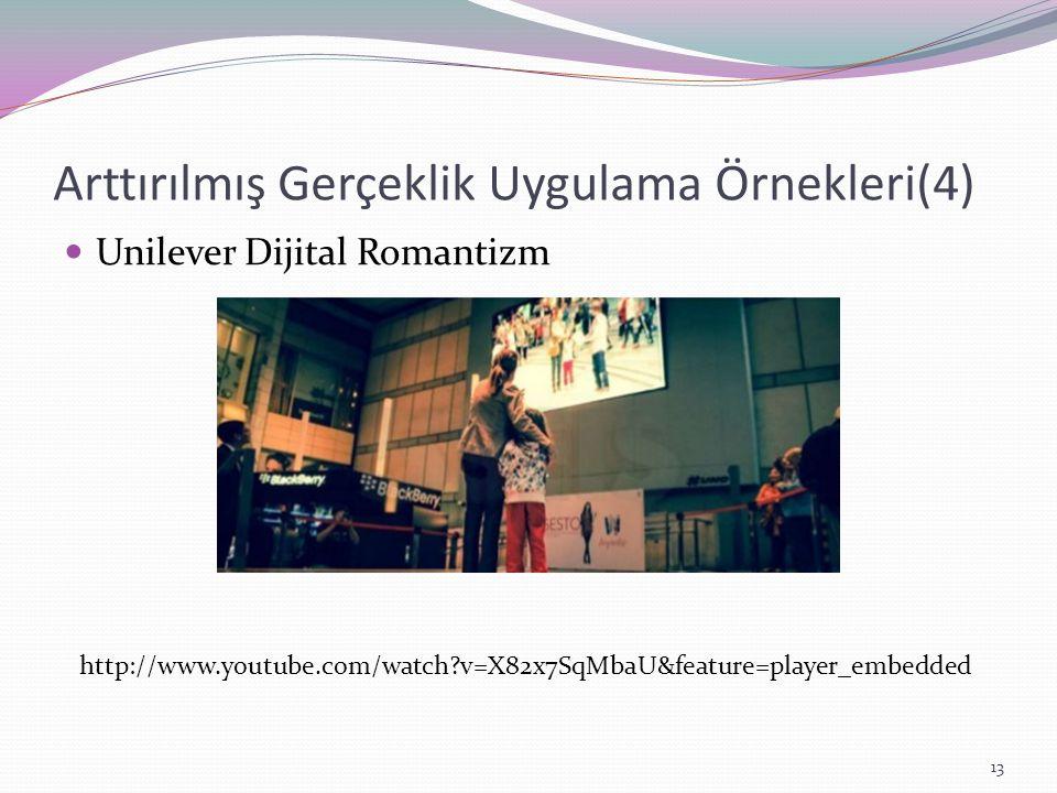 Arttırılmış Gerçeklik Uygulama Örnekleri(4) Unilever Dijital Romantizm http://www.youtube.com/watch?v=X82x7SqMbaU&feature=player_embedded 13