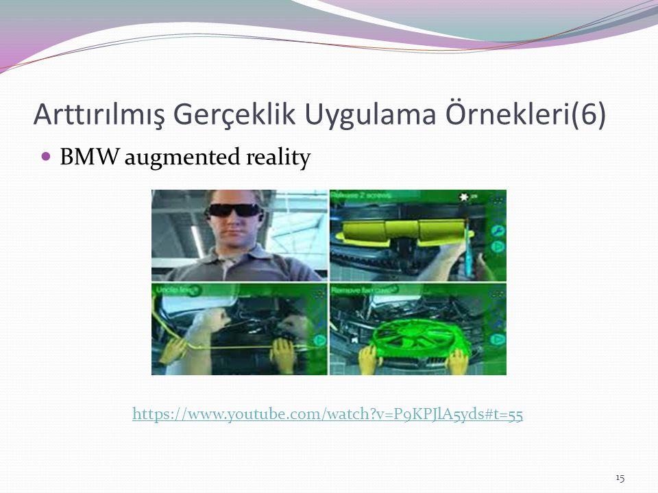 Arttırılmış Gerçeklik Uygulama Örnekleri(6) BMW augmented reality https://www.youtube.com/watch?v=P9KPJlA5yds#t=55 15