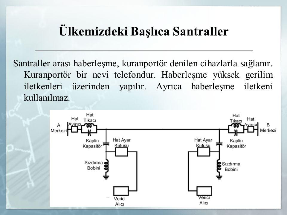 Ülkemizdeki Başlıca Santraller Santraller arası haberleşme, kuranportör denilen cihazlarla sağlanır. Kuranportör bir nevi telefondur. Haberleşme yükse