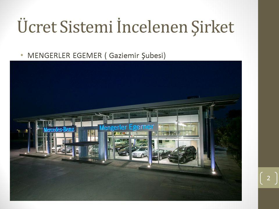 Ücret Sistemi İncelenen Şirket MENGERLER EGEMER ( Gaziemir Şubesi) 2