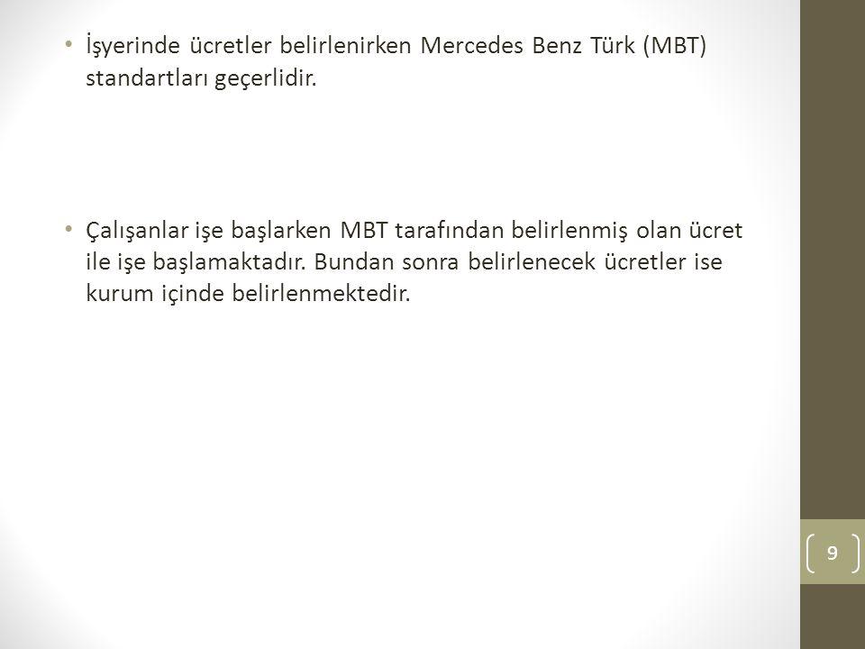 İşyerinde ücretler belirlenirken Mercedes Benz Türk (MBT) standartları geçerlidir. Çalışanlar işe başlarken MBT tarafından belirlenmiş olan ücret ile