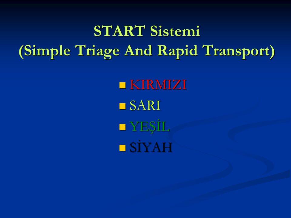 START Sistemi (Simple Triage And Rapid Transport) KIRMIZI KIRMIZI SARI SARI YEŞİL YEŞİL SİYAH SİYAH