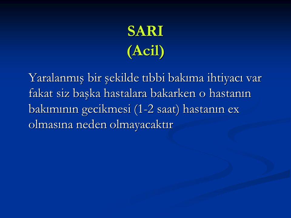 SARI (Acil) Yaralanmış bir şekilde tıbbi bakıma ihtiyacı var fakat siz başka hastalara bakarken o hastanın bakımının gecikmesi (1-2 saat) hastanın ex