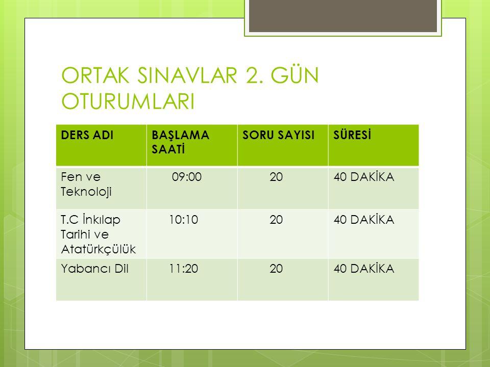 ORTAK SINAVLAR 2.