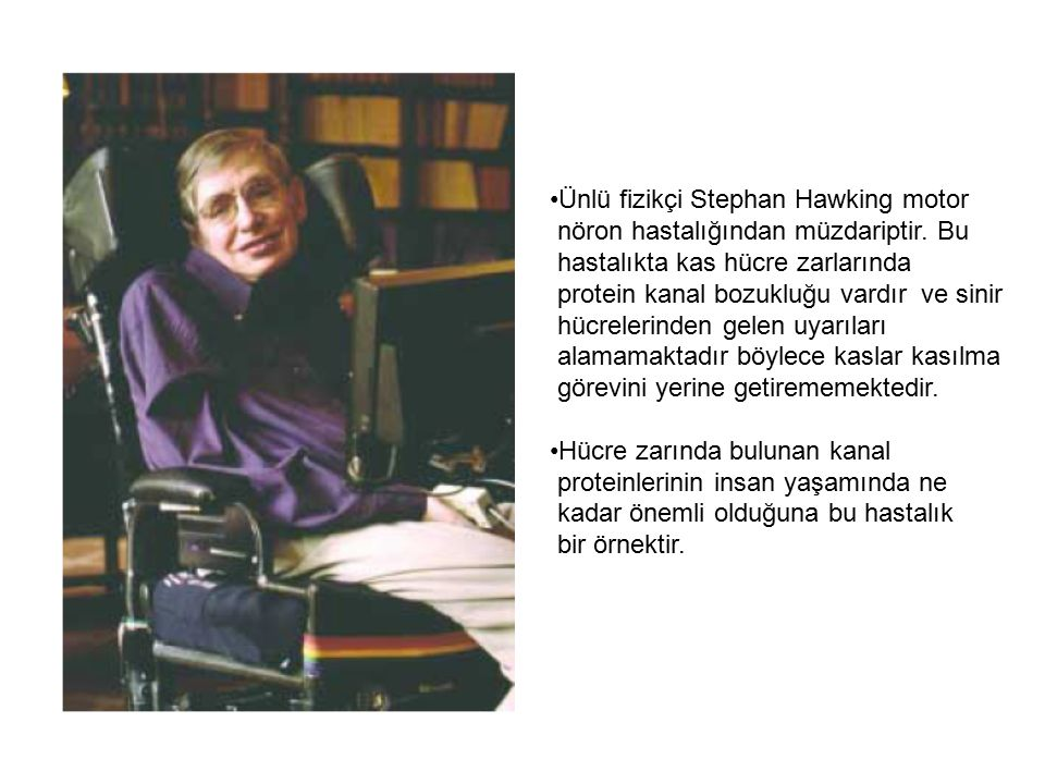 Ünlü fizikçi Stephan Hawking motor nöron hastalığından müzdariptir. Bu hastalıkta kas hücre zarlarında protein kanal bozukluğu vardır ve sinir hücrele