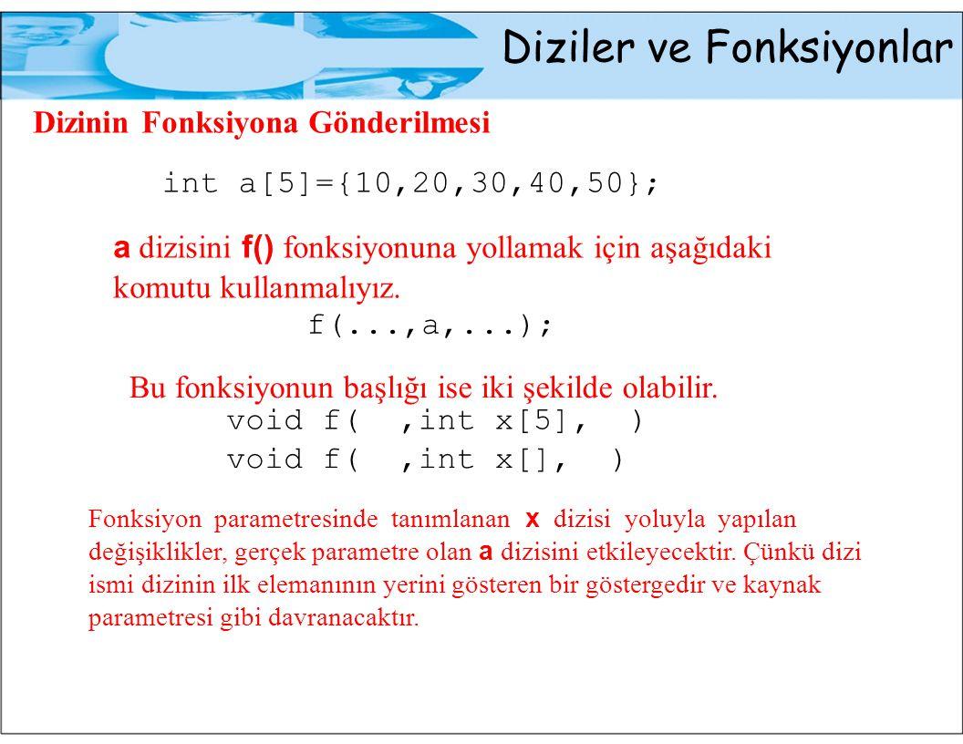 Diziler ve Fonksiyonlar Dizinin Fonksiyona Gönderilmesi int a[5]={10,20,30,40,50}; a dizisini f() fonksiyonuna yollamak için aşağıdaki komutu kullanmalıyız.