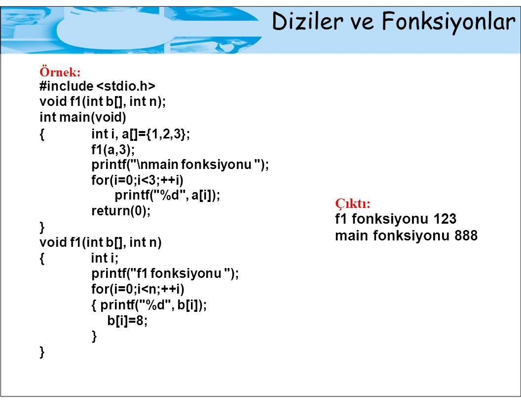Diziler ve Fonksiyonlar Örnek: #include void f1(int b[], int n); int main(void) {int i, a[]={1,2,3}; f1(a,3); printf(