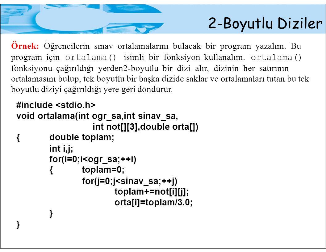 2-Boyutlu Diziler Örnek: Öğrencilerin sınav ortalamalarını bulacak bir program yazalım.