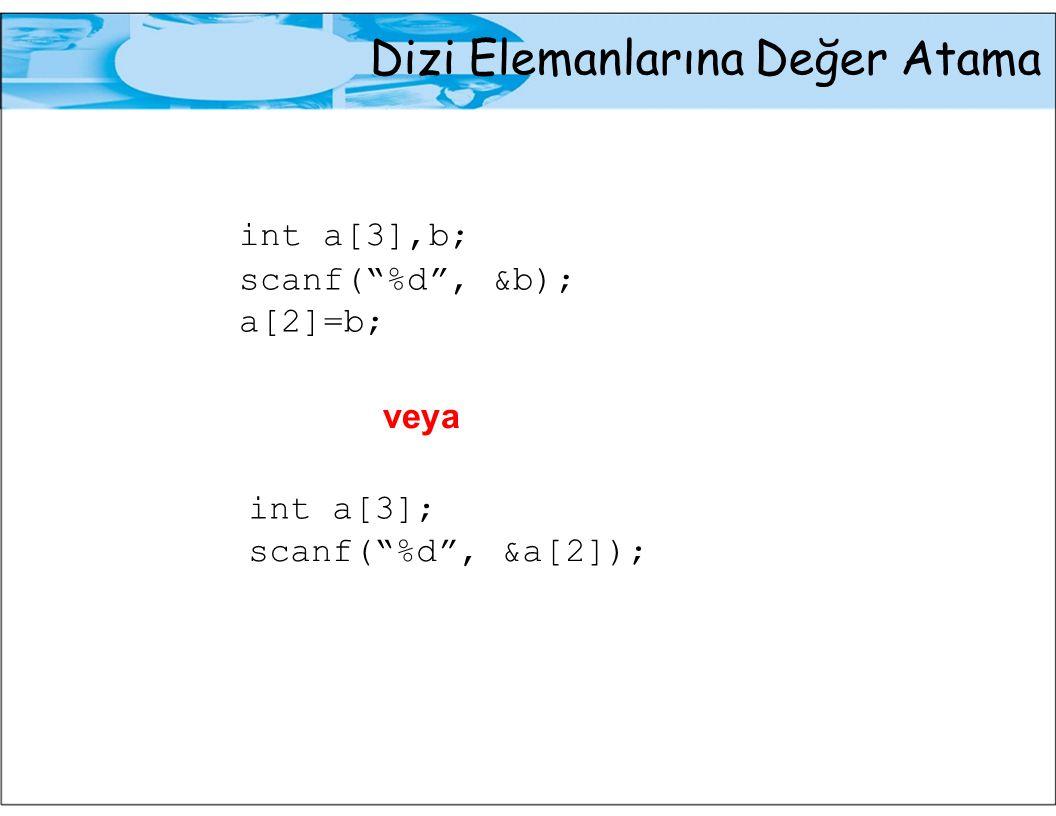 Dizi Elemanlarına Değer Atama Örnek:Kullanıcıdan alınan 5 tamsayı değerini bir dizide saklayan ve bu değerlerin ortalamasını bulan bir program yazalım #include int main(void) {int a[5]; int i,toplam; double orta; /*Kullanici degerlerinin dizide saklanmasi*/ printf( Bes tamsayi giriniz: ); for(i=0;i<5;++i) scanf( %d ,&a[i]); /*Toplam ve ortalamanin bulunmasi*/ toplam=0; for(i=0;i<5;++i) toplam=toplam+a[i]; orta= toplam/5.0; printf( Ortalama=%5.2f ,orta); return (0); }