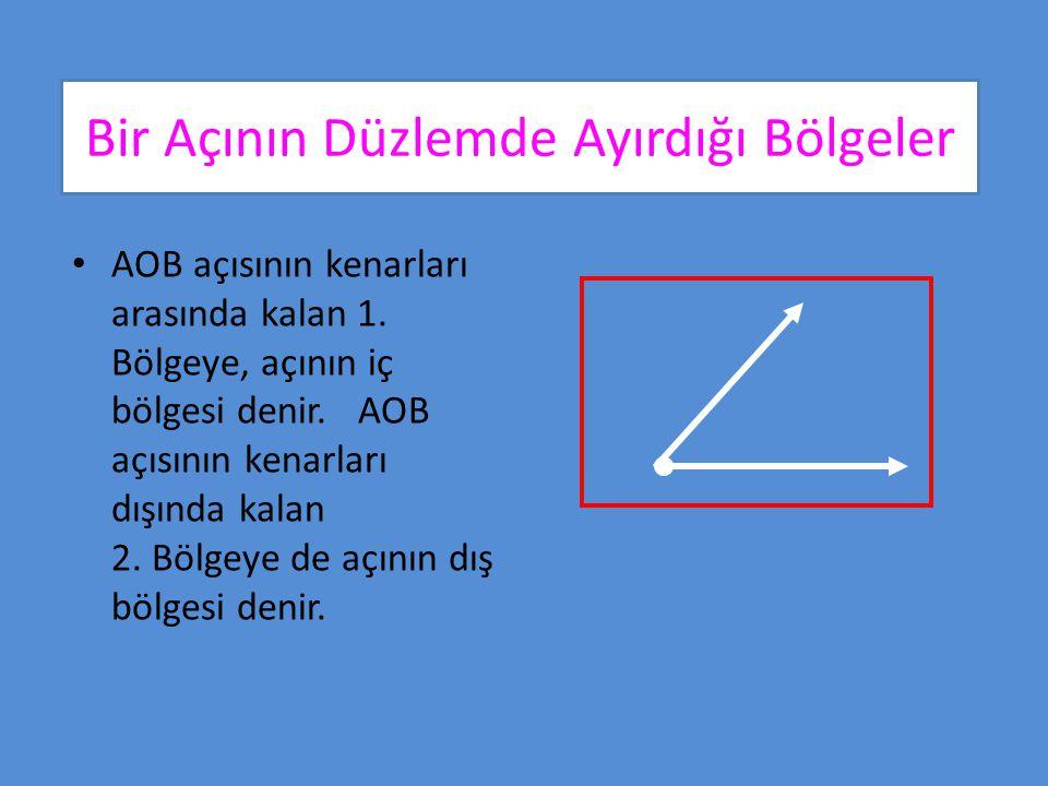 Bir Açının Düzlemde Ayırdığı Bölgeler Buna göre, bir açı bulunduğu düzlemi üç kümeye ayırır: Açının iç bölgesi Açının kendisi Açının dış bölgesi