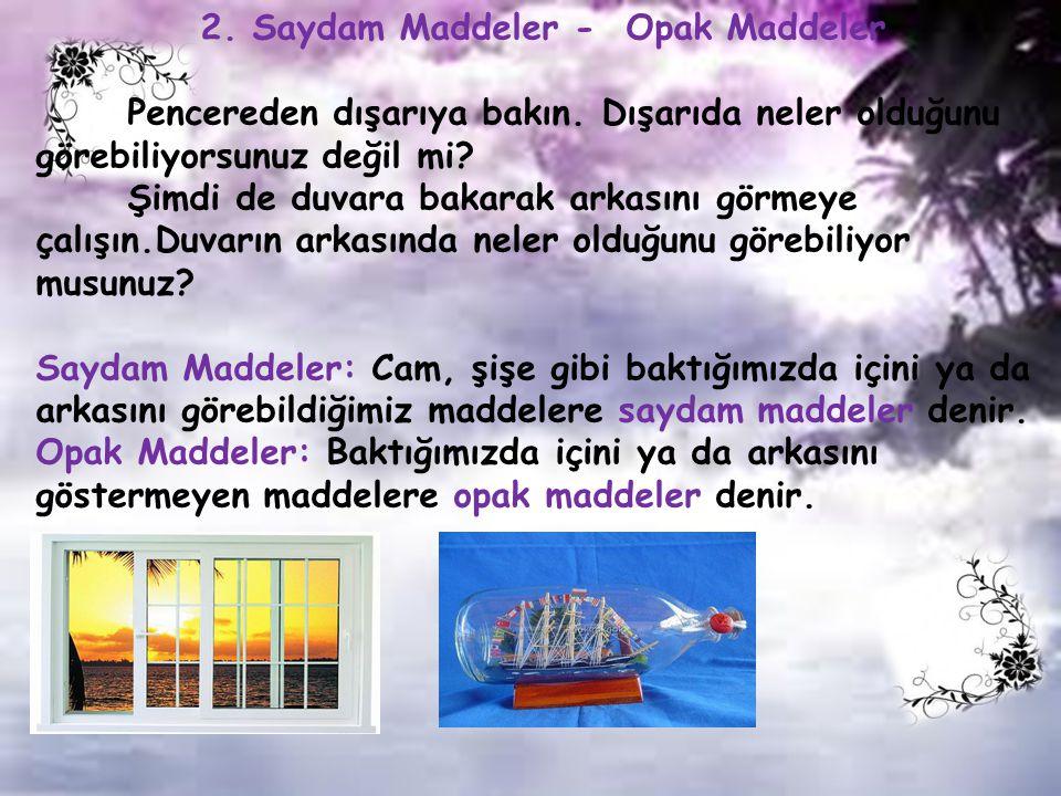 2.Saydam Maddeler - Opak Maddeler Pencereden dışarıya bakın.