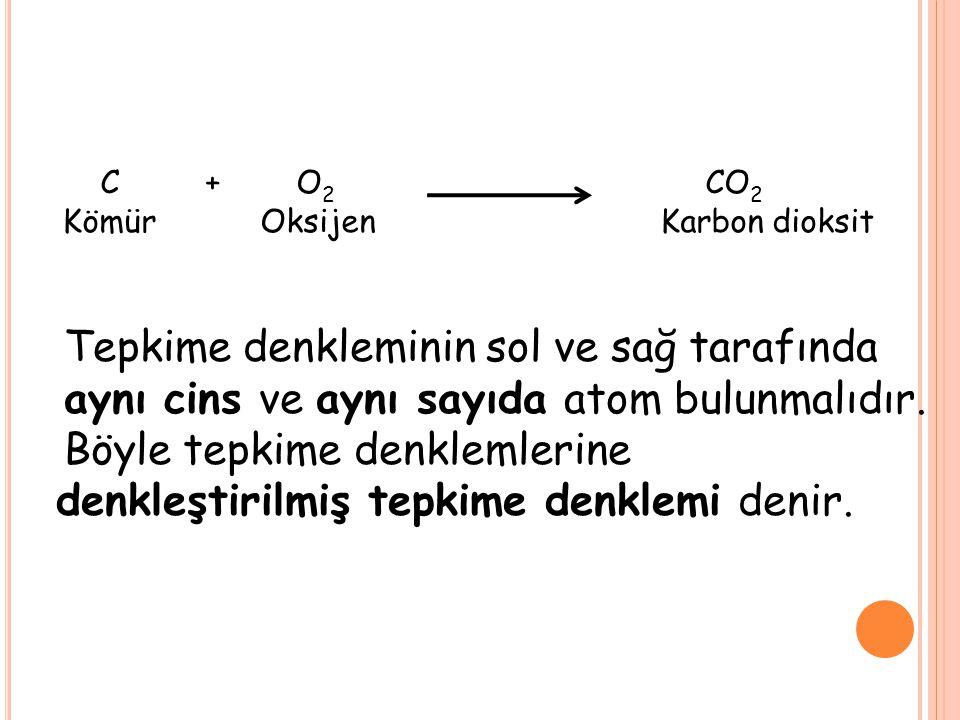 Tepkime denkleminin sol ve sağ tarafında aynı cins ve aynı sayıda atom bulunmalıdır. Böyle tepkime denklemlerine denkleştirilmiş tepkime denklemi deni