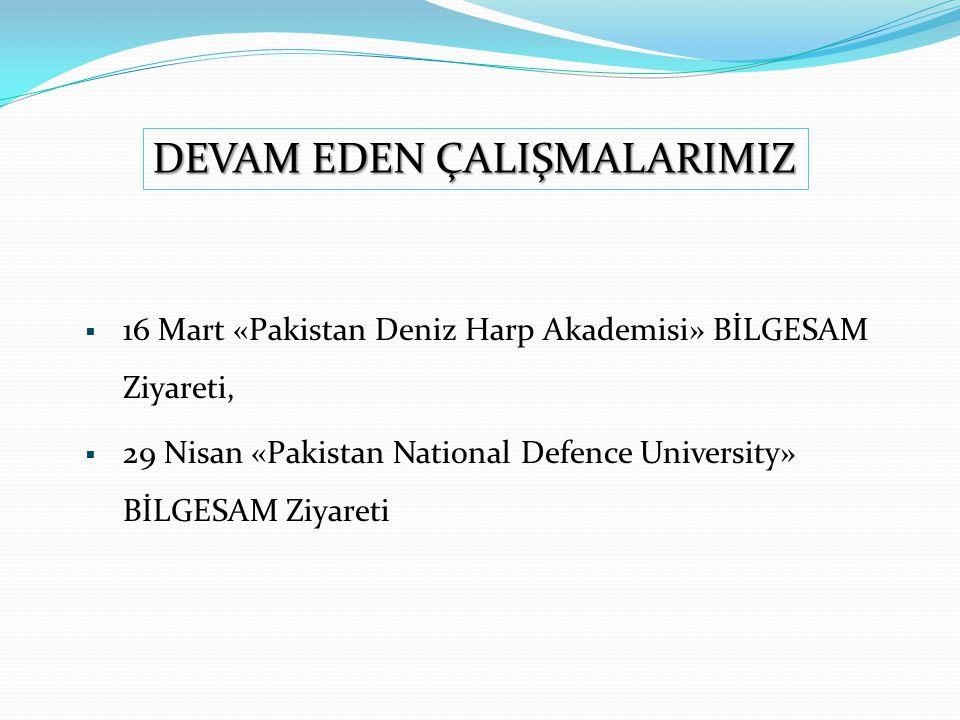  16 Mart «Pakistan Deniz Harp Akademisi» BİLGESAM Ziyareti,  29 Nisan «Pakistan National Defence University» BİLGESAM Ziyareti DEVAM EDEN ÇALIŞMALARIMIZ