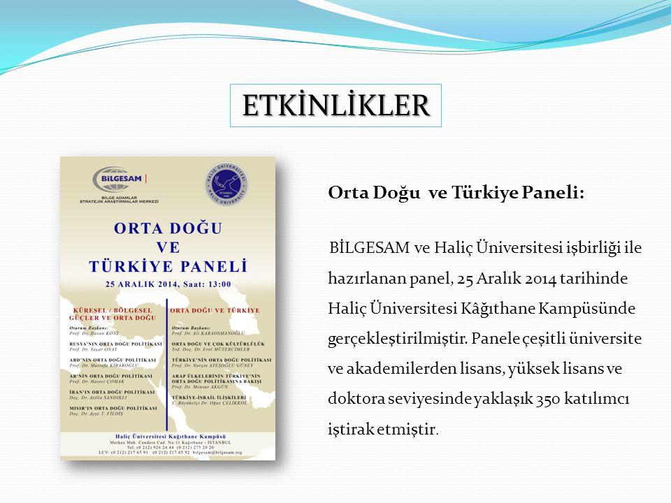 ETKİNLİKLER Orta Doğu ve Türkiye Paneli: BİLGESAM ve Haliç Üniversitesi işbirliği ile hazırlanan panel, 25 Aralık 2014 tarihinde Haliç Üniversitesi Kâğıthane Kampüsünde gerçekleştirilmiştir.