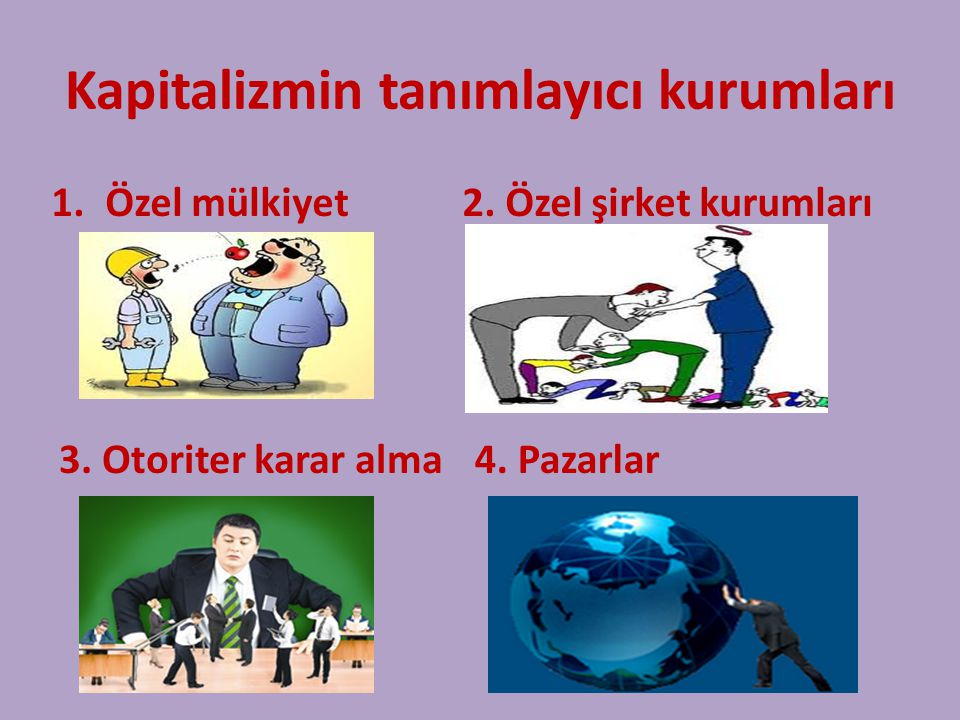 Kapitalizmin tanımlayıcı kurumları 1.Özel mülkiyet 2.