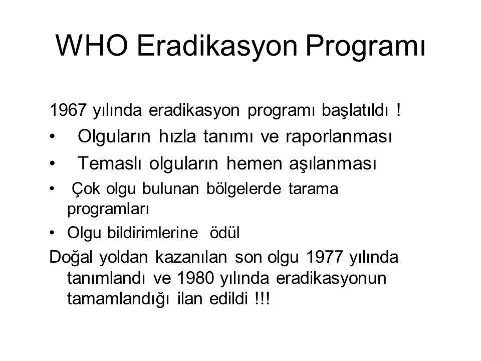 WHO Eradikasyon Programı 1967 yılında eradikasyon programı başlatıldı .