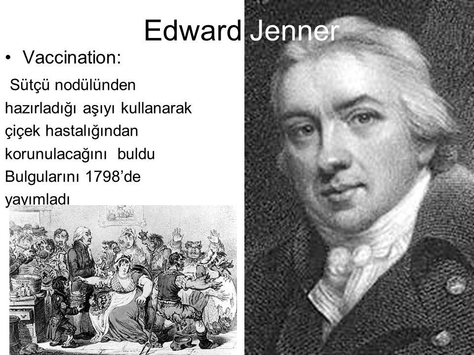 Edward Jenner Vaccination: Sütçü nodülünden hazırladığı aşıyı kullanarak çiçek hastalığından korunulacağını buldu Bulgularını 1798'de yayımladı.