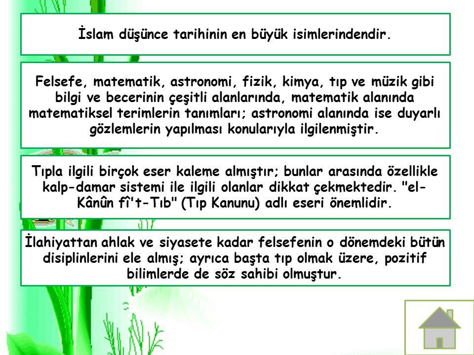 İslam düşünce tarihinin en büyük isimlerindendir. Felsefe, matematik, astronomi, fizik, kimya, tıp ve müzik gibi bilgi ve becerinin çeşitli alanlarınd