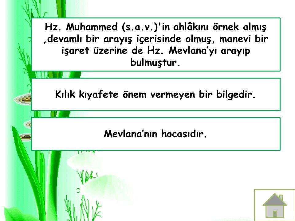 Kılık kıyafete önem vermeyen bir bilgedir. Mevlana'nın hocasıdır. Hz. Muhammed (s.a.v.)'in ahlâkını örnek almış,devamlı bir arayış içerisinde olmuş, m