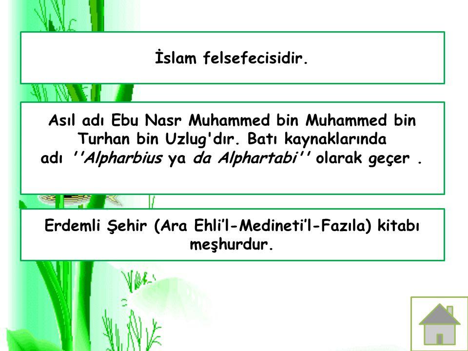 İslam felsefecisidir. Erdemli Şehir (Ara Ehli'l-Medineti'l-Fazıla) kitabı meşhurdur. Asıl adı Ebu Nasr Muhammed bin Muhammed bin Turhan bin Uzlug'dır.